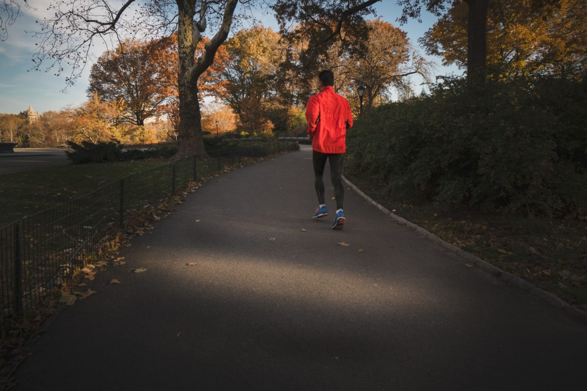 A person jogging in a pathway